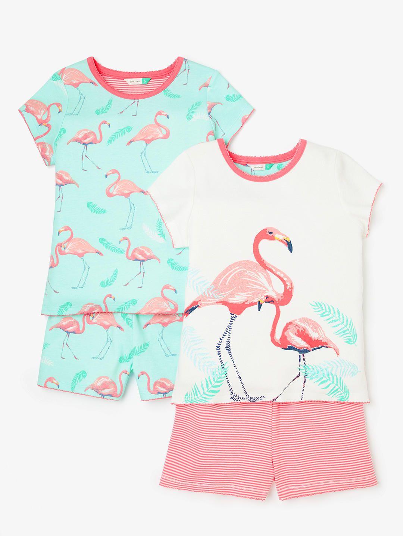 d7bd37a614e John Lewis & Partners Girls' Flamingo Print Short Pyjamas, Pack of 2, Blue