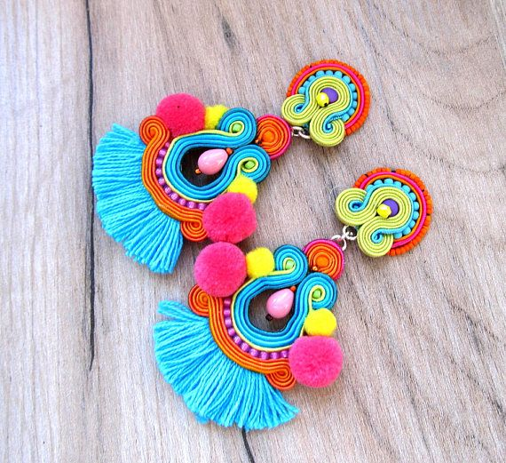 colorful tassel earrings with pompoms long clip on earrings pom pom earrings tribal earrings. Black Bedroom Furniture Sets. Home Design Ideas