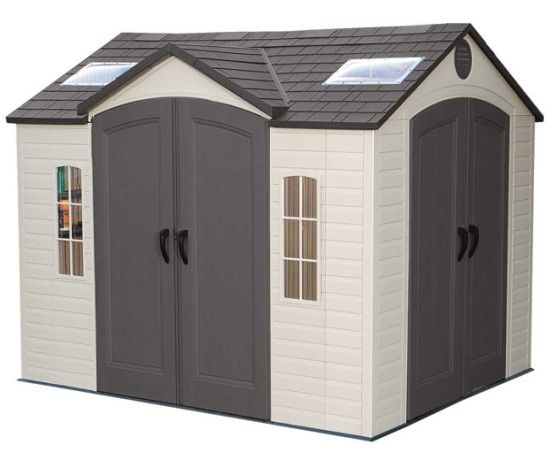 Lifetime 10 X 8 Ft Garden Shed With Double Doors Front And Side 60001 Outdoor Storage Sheds Plastic Sheds Shed
