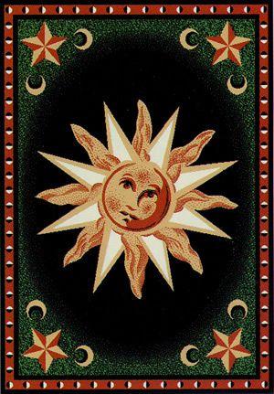 Safari Collection Star Sun Moon Green Orange Black Area Rug