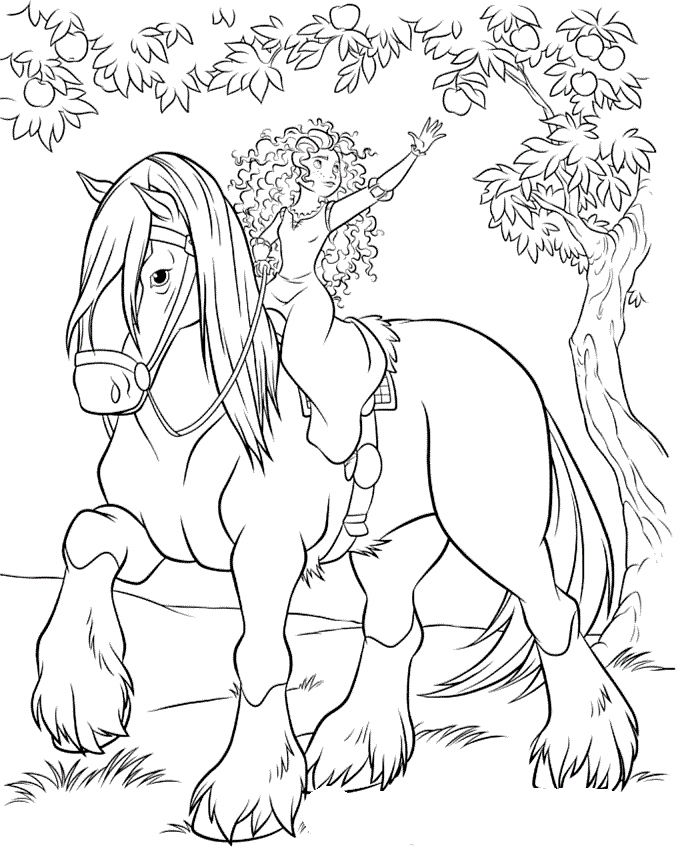 Princess merida horse ride while you take the fruit for Princess and horse coloring pages
