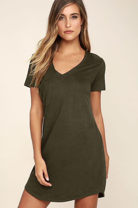 b08b530f The Modern Design Olive Green Suede Shirt Dress will put a fun twist on  your everyday look! This super comfy vegan suede dress has a V-neckline and  short ...