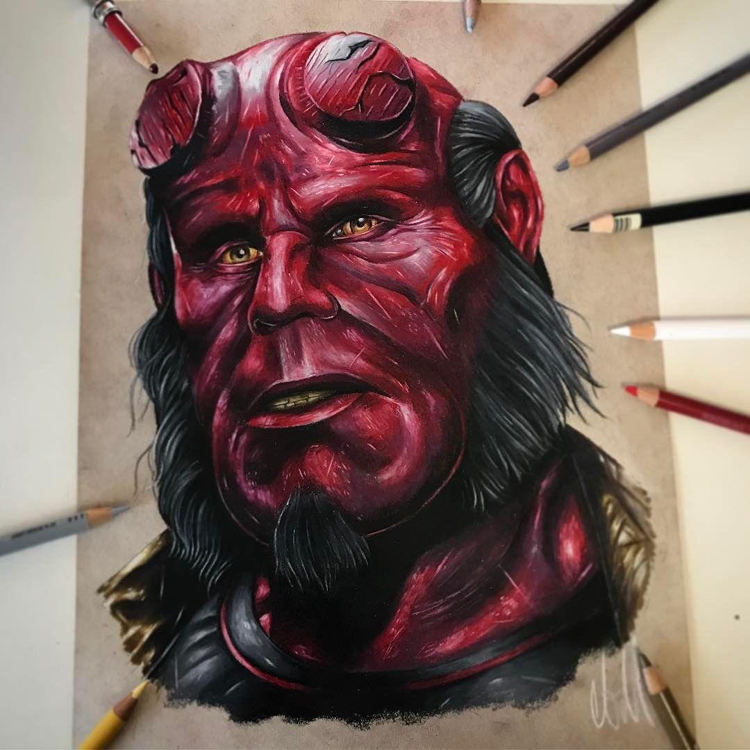 Hellboy, by Adam Milton Desenhos realistas, Desenho de