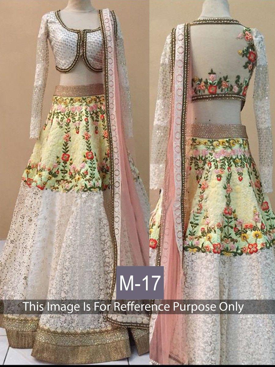 Net+&+Banarasi+Silk+Machine+Work+White+&+Cream+Semi+Stitched+Lehenga+-+M017 at Rs 3589