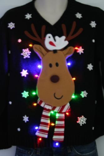 Ugly Christmas Sweater - Reindeer ~ with LED Lights - Luvable Friends Printed Fleece Blanket, Birds Ugly Christmas