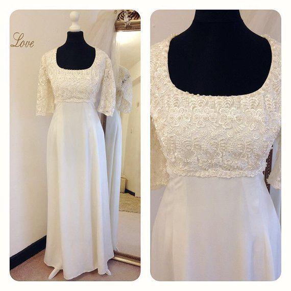 1960s Wedding Dress, Beaded Wedding Dress, Empire Line