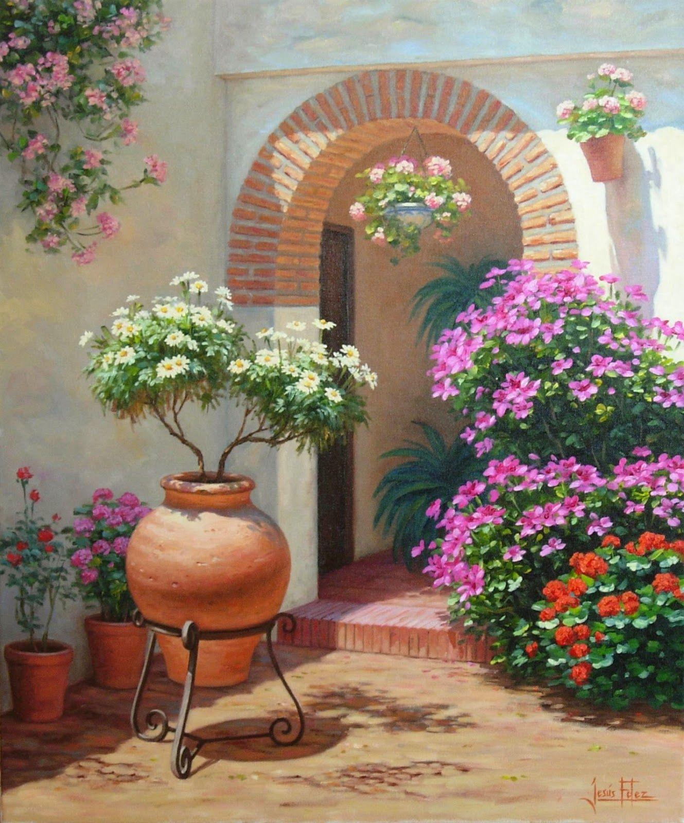 Jesús Fernández Pintor Rincón De Patio Andaluz Paisajes Flores Pintura De Jardín Paisajes
