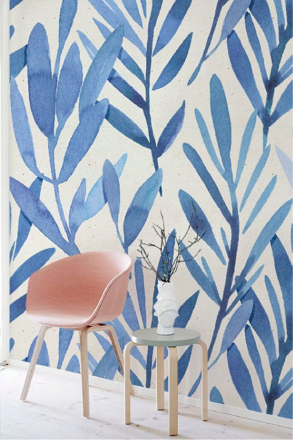 Wall Mural With Blue Watercolor Leaves Temporary Wall Mural Etsy Wall Murals Watercolor Wallpaper Mural
