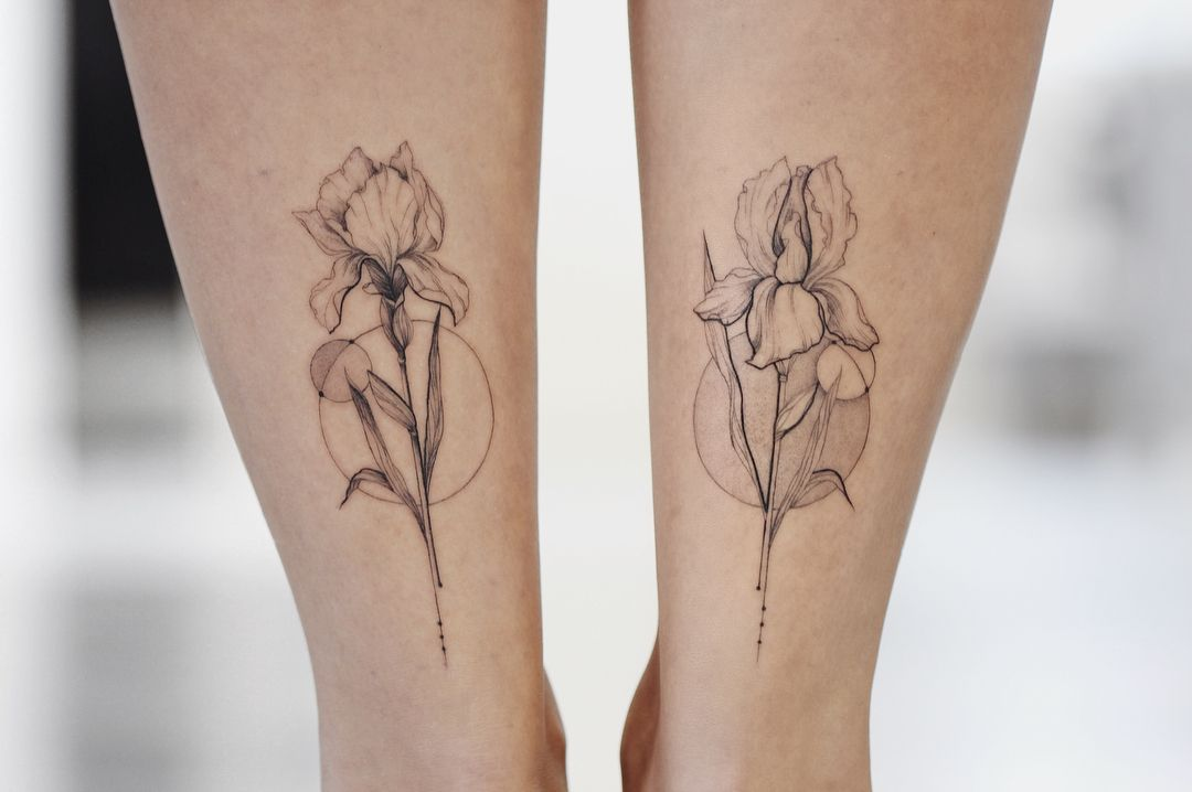 Iris Tattoo Iris Tattoo Iris Flower Tattoo Pointillism Tattoo