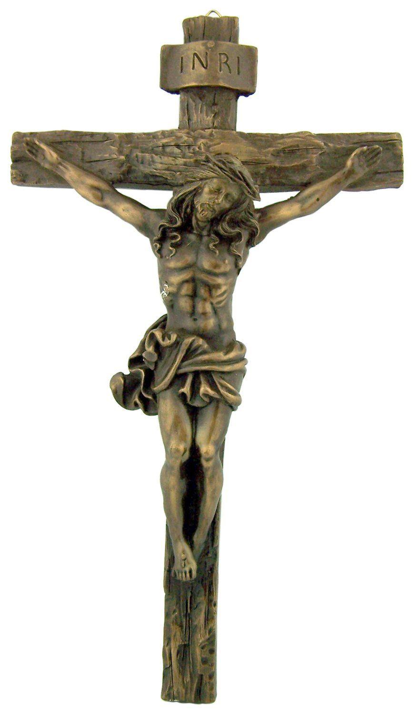 Amazon Com Antique Bronze Hanging Wall Inri Christ Cross