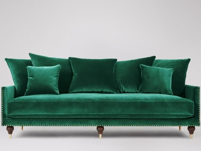 Charming The Winchester Three Seater Sofa In Velvet, Emerald Green. Lay On A  Luxurious