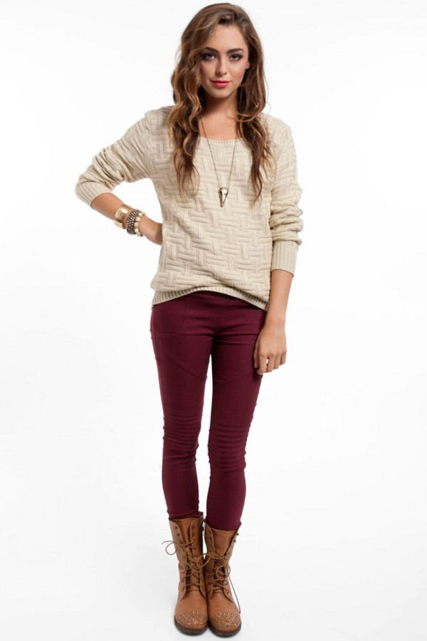 supersize sweater  burgundy pants burgundy pants outfit
