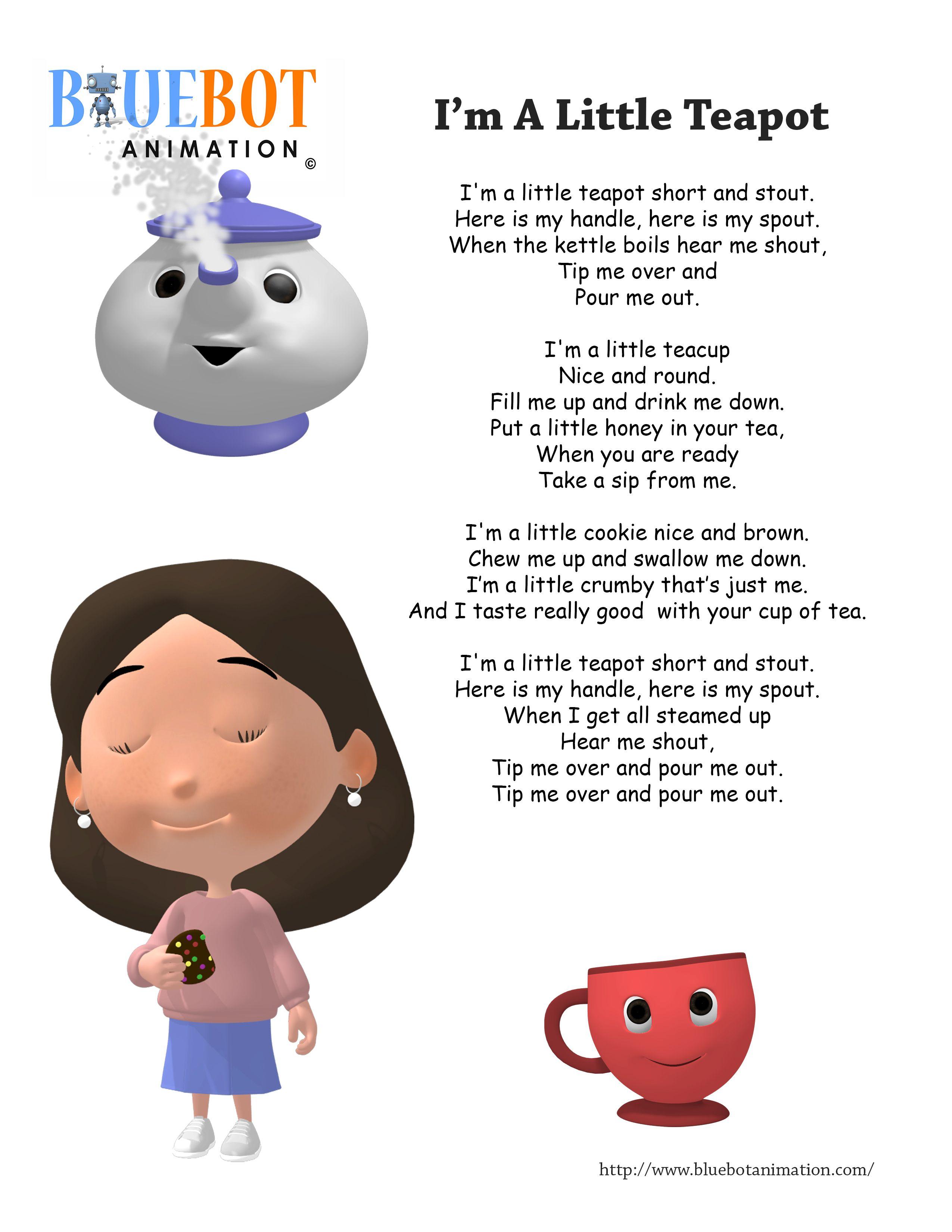 I M A Little Teapot Nursery Rhyme Lyrics Free Printable