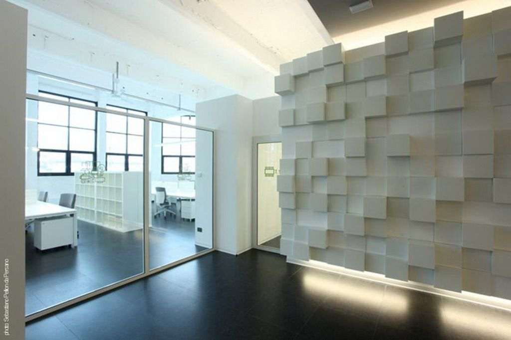 White and clean office interior design with modern glass for Office wall interior