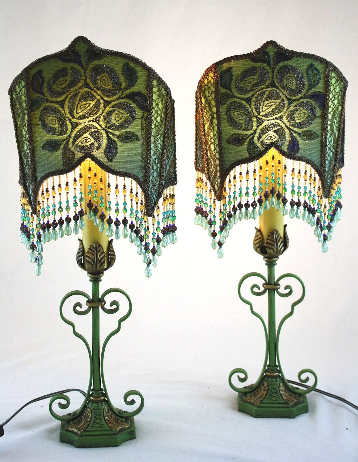 1920s pair art deco lamps hand sewn shades art deco lamps 1920s 1920s pair art deco lamps hand sewn shades aloadofball Image collections