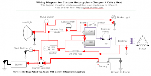 Errata Fixed Custom Motorcycle Wiring Diagram By Evan Fell Motorcycle Wiring Cafe Racer Build Rat Bike