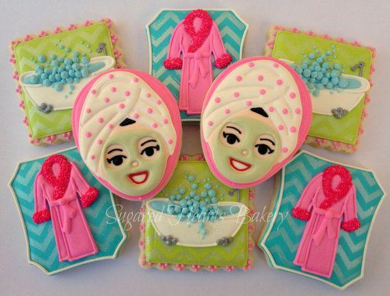 Spa Party Birthday Bridal Shower Cookies PinkGreenBlue 1 Dozen