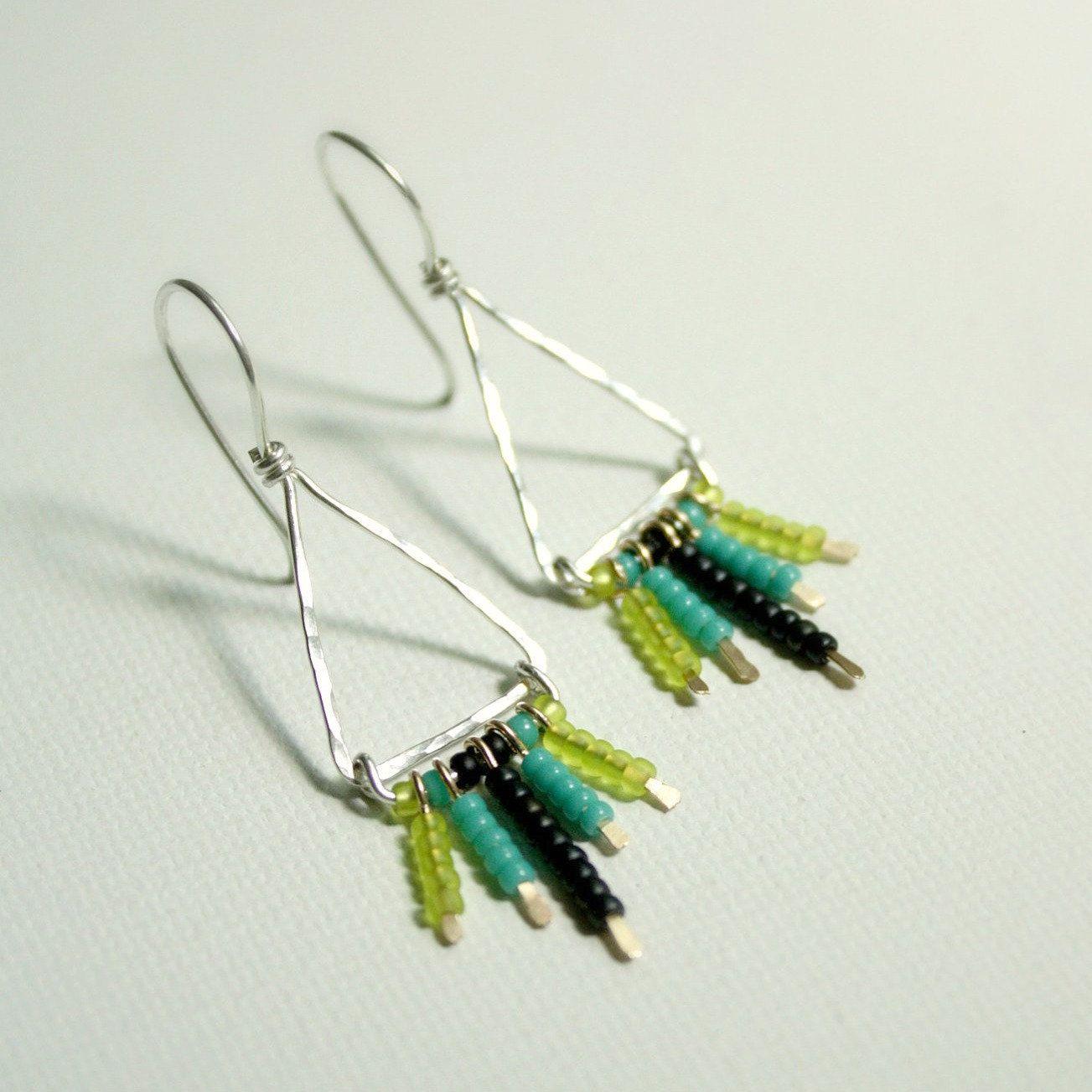 Silver Striped Chandelier Earrings By Whyzee On Etsy