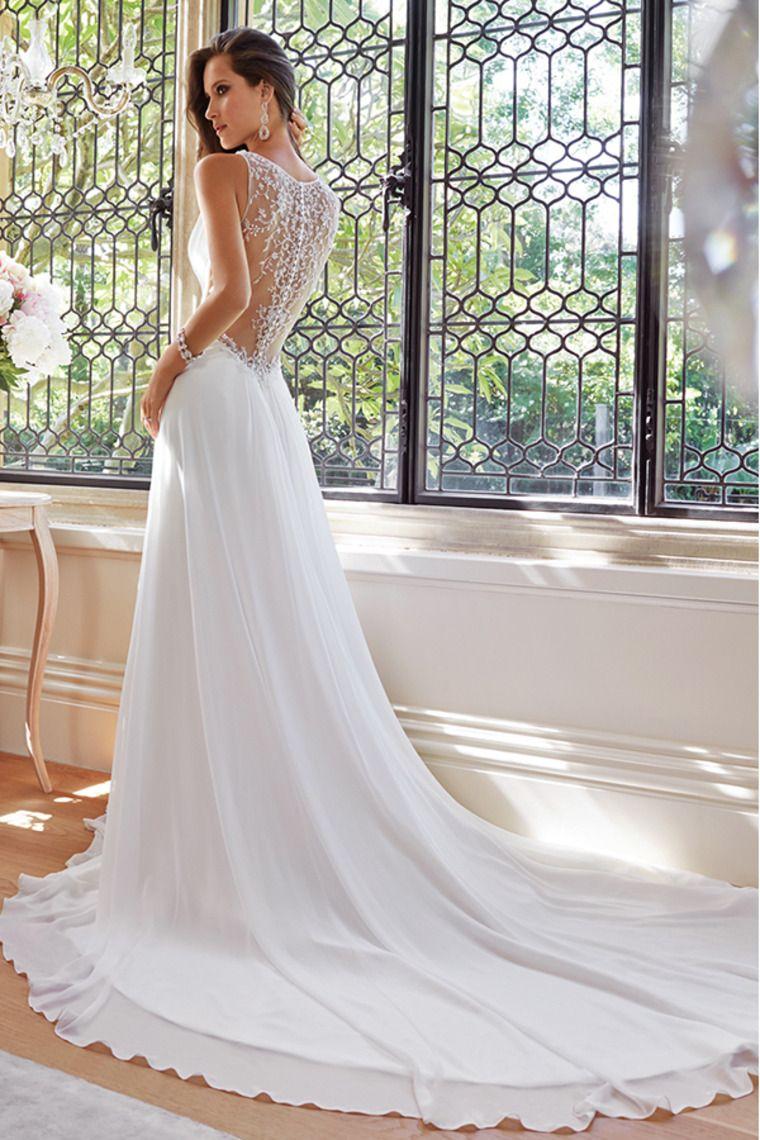Wedding dress beaded back   V Neck Ruched Bust A Line Chiffon Wedding Dress Beaded
