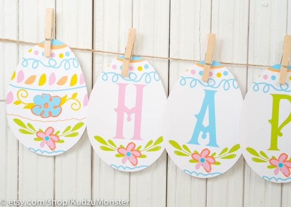 photograph about Happy Easter Banner Printable known as printable easter egg banner reads Content EASTER adorable vibrant