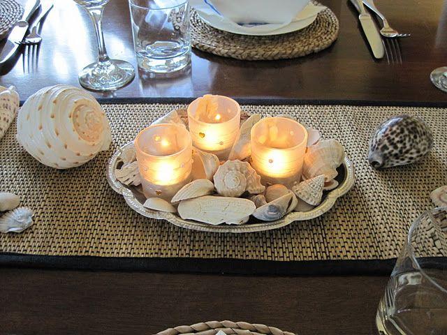 beach / summer-themed dining room table #beach #summer #dining