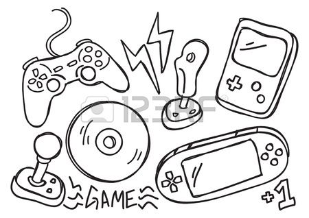 Game Console Doodle Hand Drawing Video Doodles Games Doodles