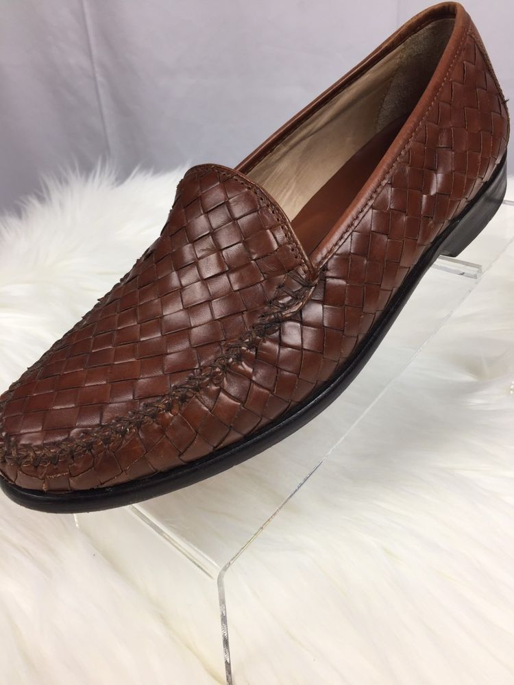 d0cfb048ae5 Cole Haan Men s 9 Dress Shoes Loafer Woven Basket Weave Brown Leather Slip  On  ColeHaan  LoafersSlipOns