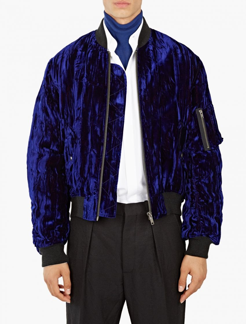 876beda9e Haider Ackermann,Blue Crushed Velvet Bomber Jacket,BLUE,0 | SHOP ...