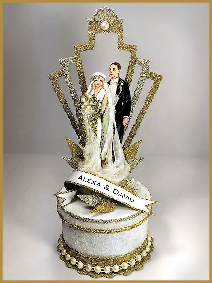 Great Gatsby Mr And Mrs Wedding Cake Topper