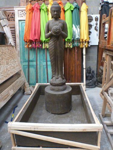 Balinese Buddha Garden Water Feature Cement Casting Statue & Base