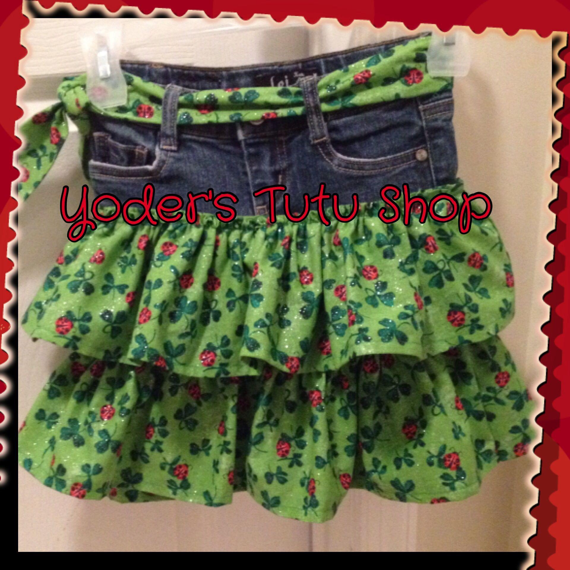 Upcycled Jean Ruffle Skirt, St. Patrick's Day Shamrock Skirt.  #yoderstutushop like our Facebook page www.facebook.com/yoderstutushop & follow us in Instagram @yoderstutushop