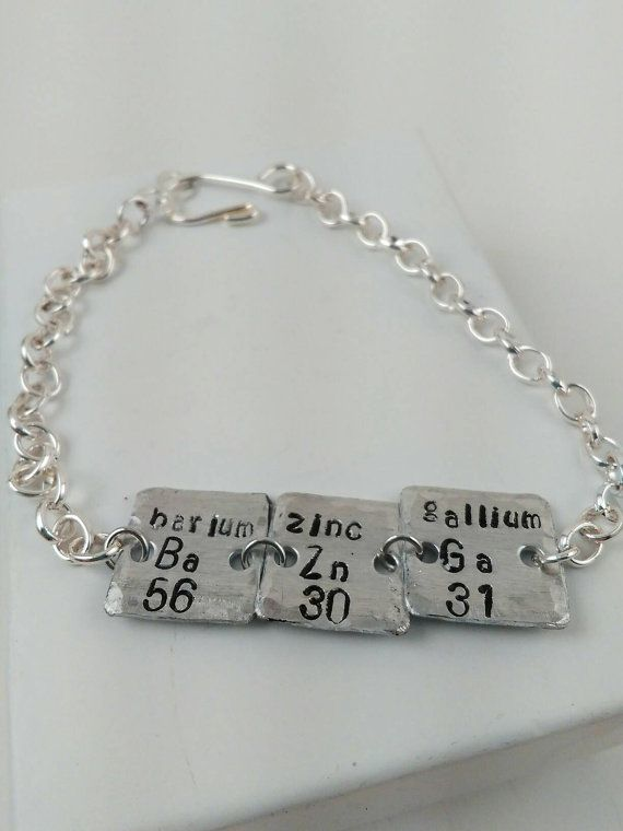 Periodic table jewelry metal stamped jewelry ba zn ga bbt nerd periodic table jewelry metal stamped jewelry ba zn ga bbt nerd bracelet urtaz Images