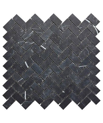Carbon Infused Herringbone Honed Mosaic Tile