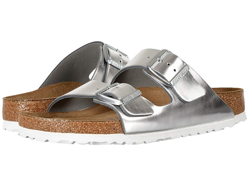 08f3458dc7b Birkenstock Arizona Soft Footbed Women s Shoes Metallic Silver Leather