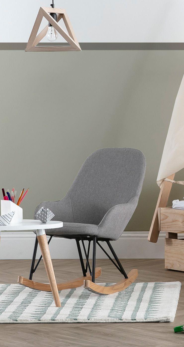 Rocking Chair Enfant Tissu Gris Metal Et Frene Jhene Miliboo En 2020 Meuble Design Idee Deco Mobilier De Salon