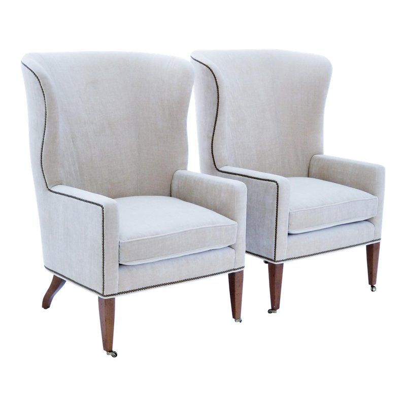 Baker Furniture Modern Wingback Accent Chairs A Pair Furniture