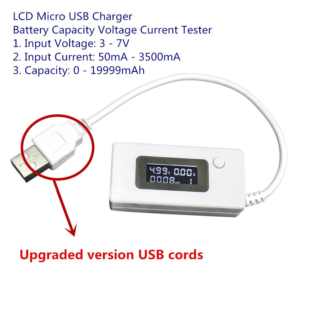 Upgraded Version Lcd Micro Usb Charger Battery Capacity Voltage And Current Tester Meter Detector For Smartphone Mobile