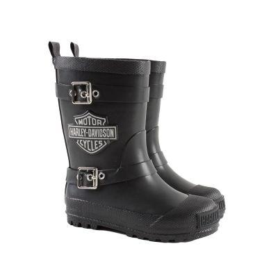 Harley Davidson Youth Kids Black Matte Rubber Biker Rain Boots ...