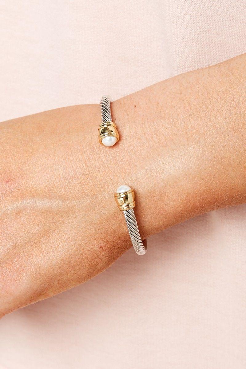 Two Sides Pearl Cuff Bracelet at reddressboutique.com