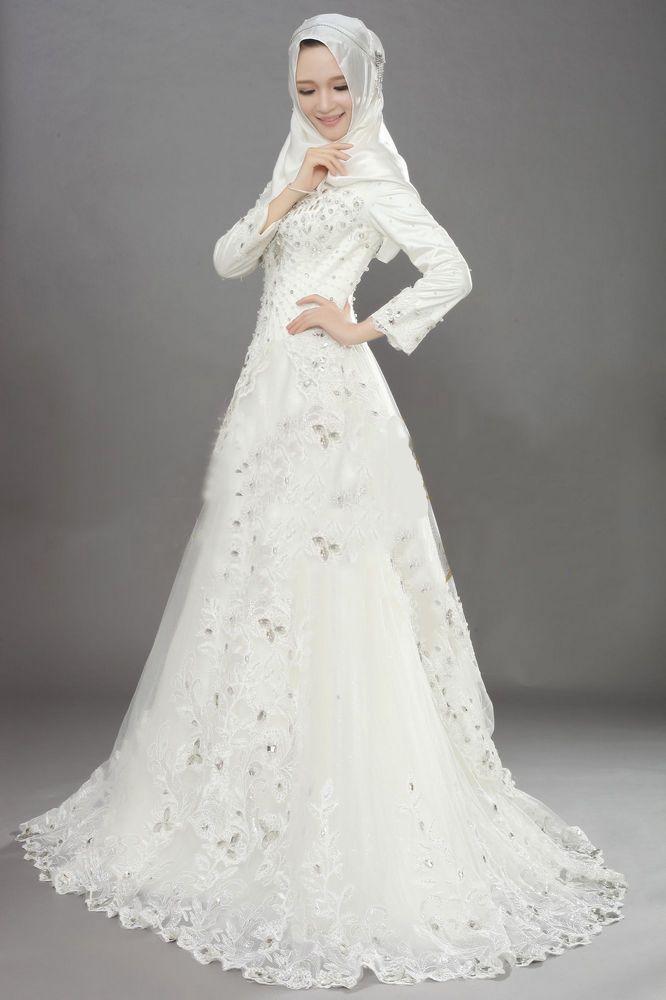CX045 New style sparkling crystal long sleeve muslim wedding dress ...