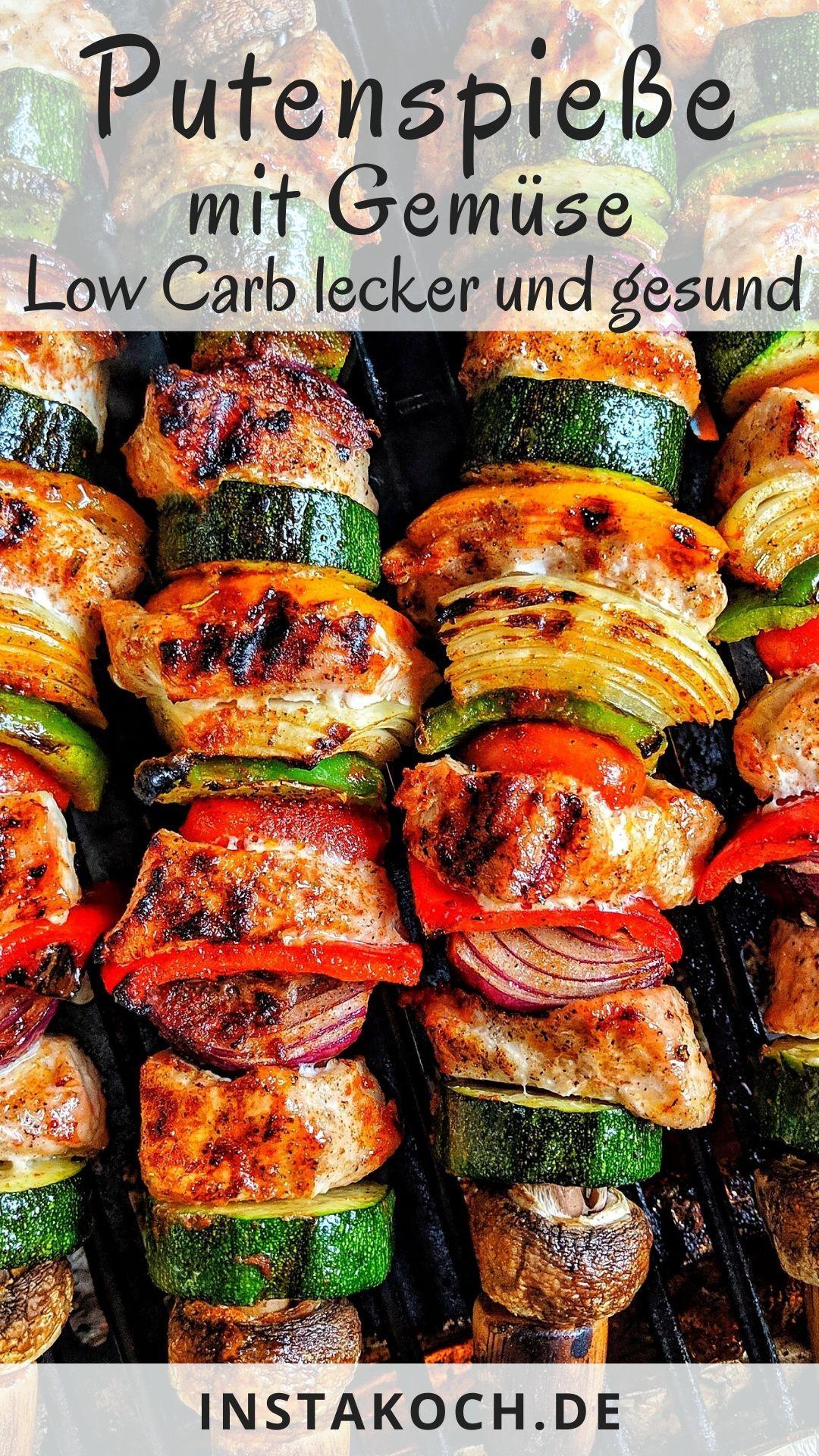 Low Carb Putenspieße mit viel frischem gesunden Gemüse sind ein absoluter Geh…