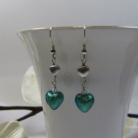 Verde Blue Green Murano Glass and Brushed Silver by SLCDesignsUK