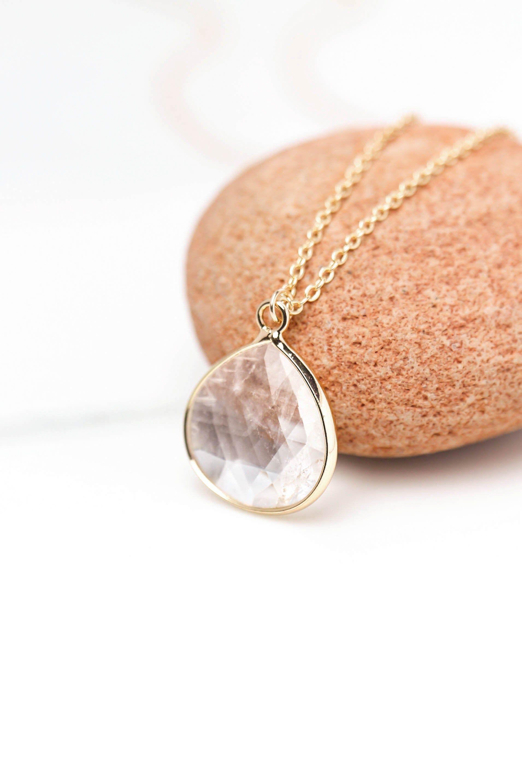 Photo of Dainty Crystal Necklace, Quartz Crystal Pendant, Gold Necklace Teardrop, April Birthstone Jewelry, Minimalist Necklace, Raw Quartz Pendant.