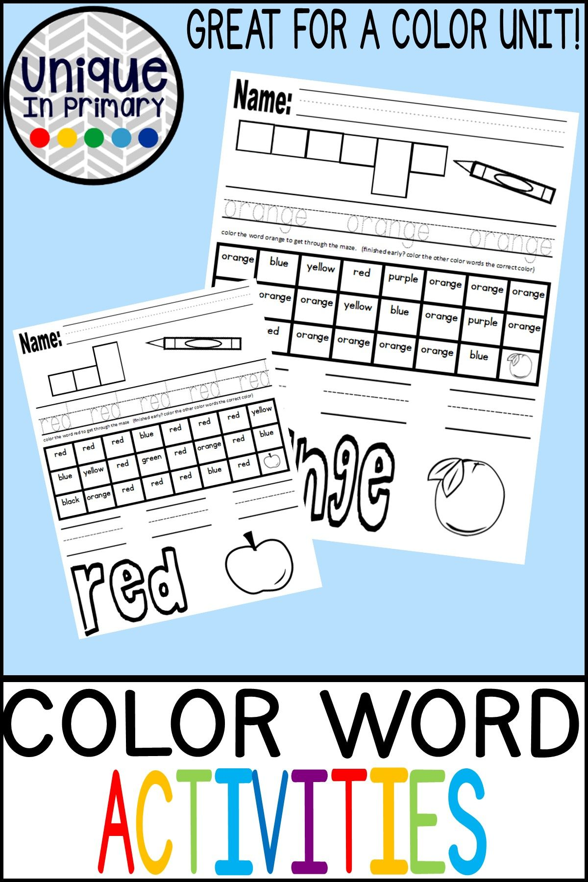 Color Word Worksheets
