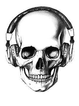 Tattoo Idea Skull With Headphones Tat Two Pinterest