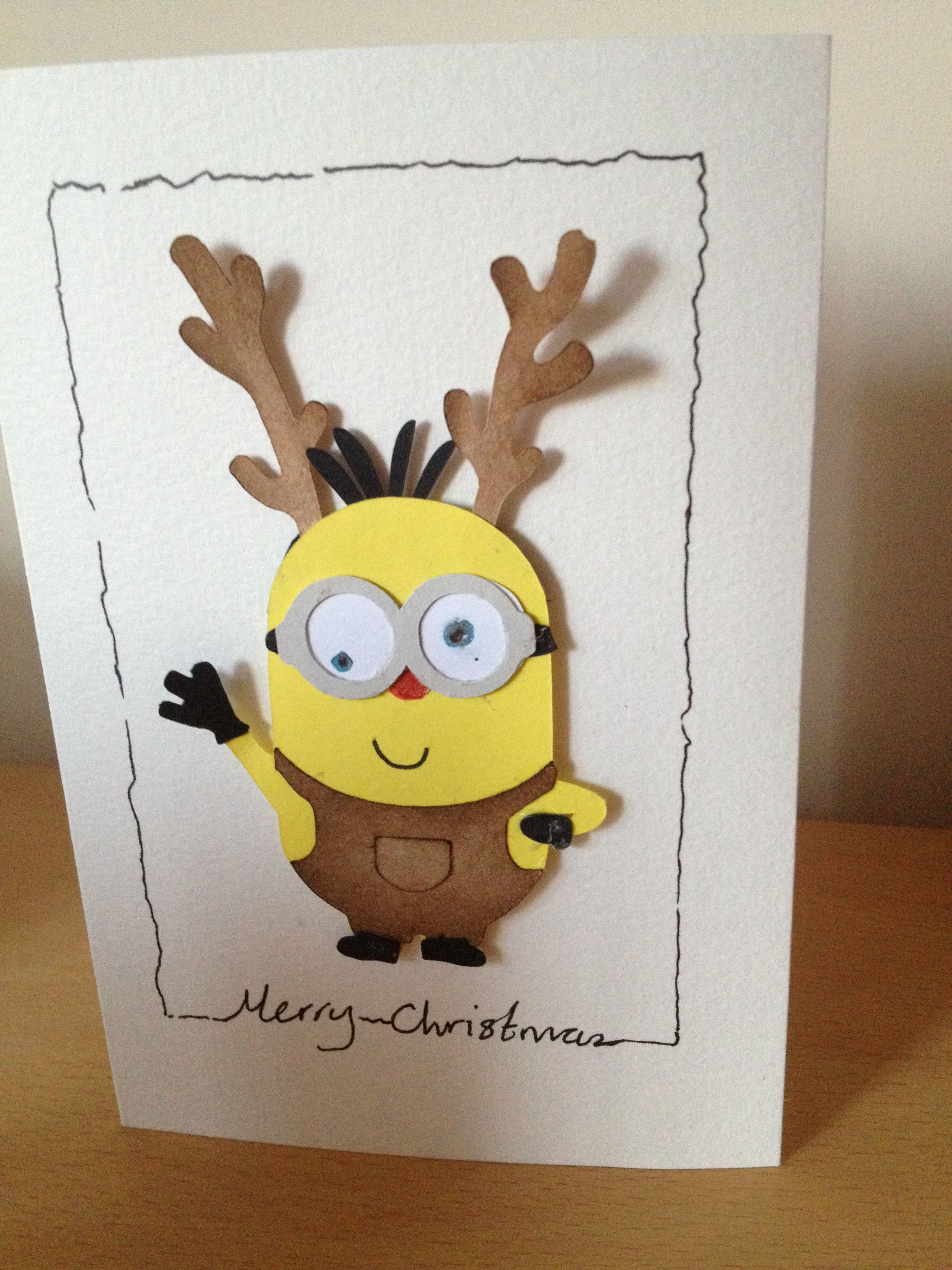 The Perfect Card For My Boyfriend Who Loves Minions And Reindeers Childrens Christmas Cards Minion Card Minion Christmas