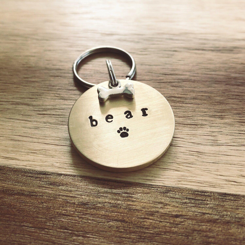 custom hand stamped metal dog Life/'s a Beach cat pet ID name tag