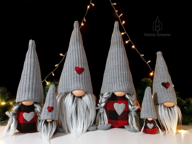 Buffalo Plaid Christmas Gnomes Farmhouse Christmas Decoration Home Gnome Lumberjack Family Ornament #christmasgnomes