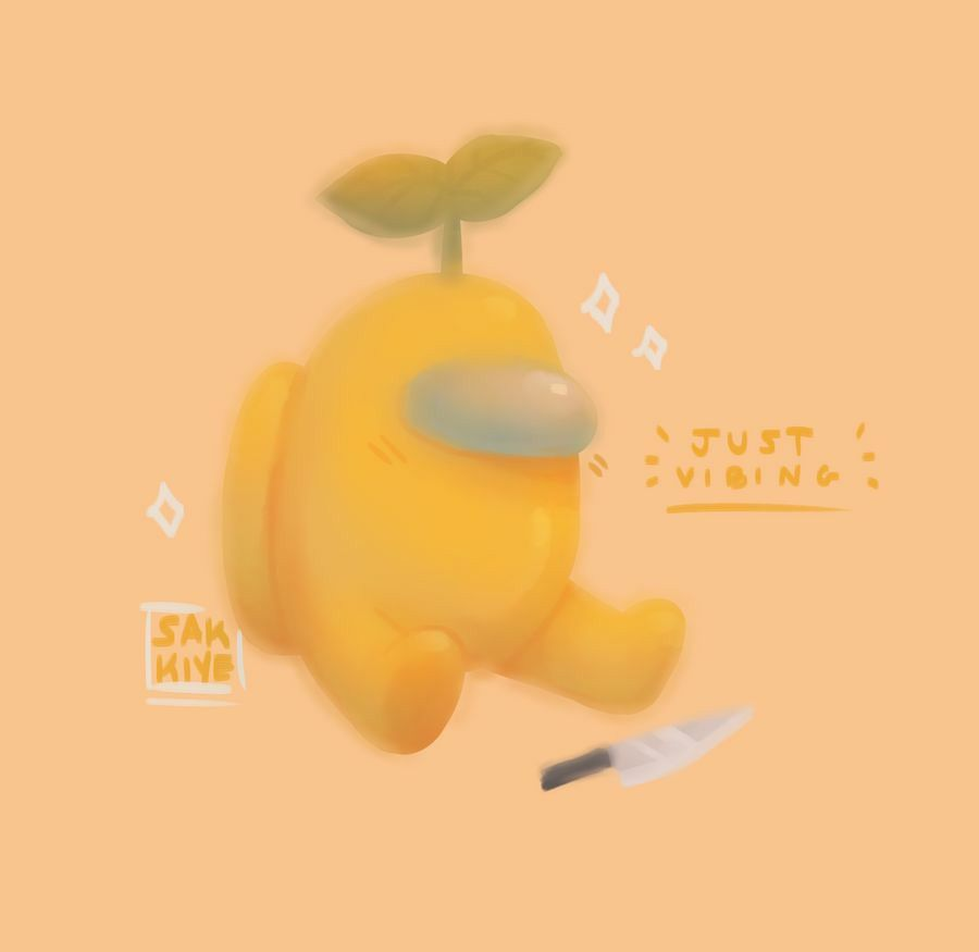 Yellow Astronaut Among Us Yellow Aesthetic Pastel Cute Patterns Wallpaper Funny Phone Wallpaper