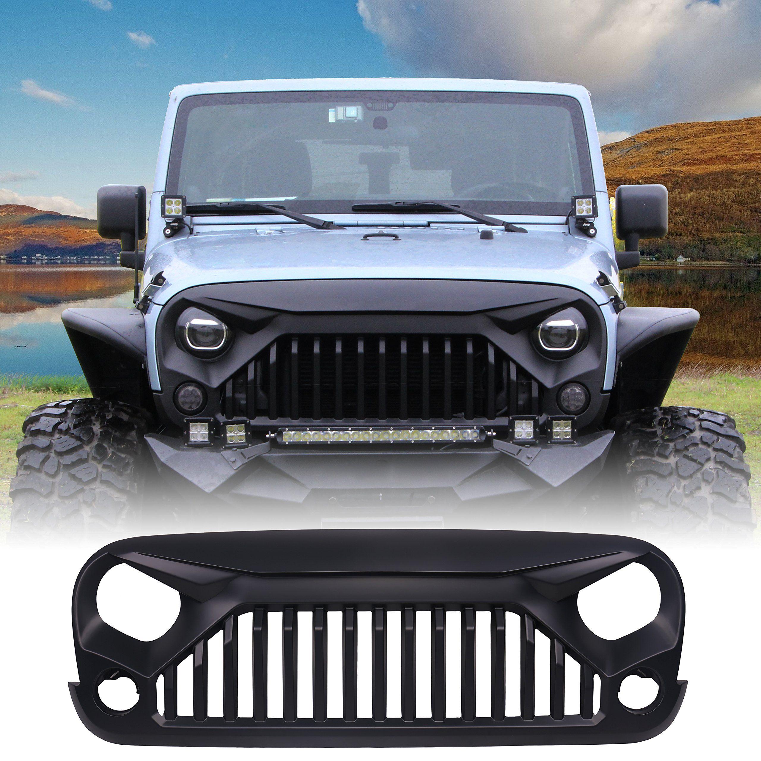 U-MAX Front Matte Black Gladiator Grid Grill for Jeep Wrangler Rubicon  Sahara Sport JK 2007-2017 (Fury Monster)
